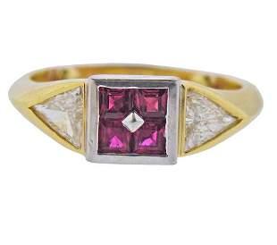 18K Gold Platinum Diamond Ruby Ring
