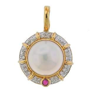 14k Gold Diamond Mabe Pearl Pendant