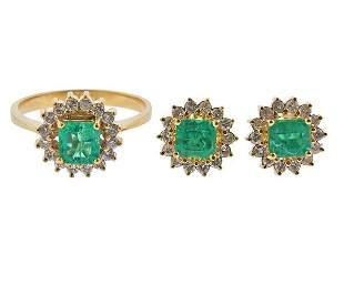 18K Gold Diamond Emerald Ring Earrings Set