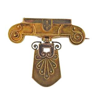 Antique Victorian 14k Gold Brooch Pin