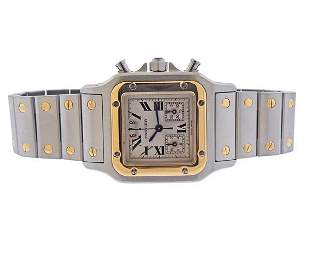 Cartier Santos Galbee 18k Gold Steel Chronograph Date