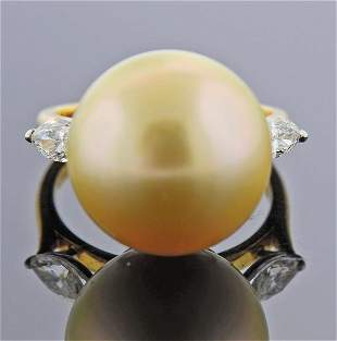 Cartier 18K Gold Platinum Diamond South Sea Pearl Ring