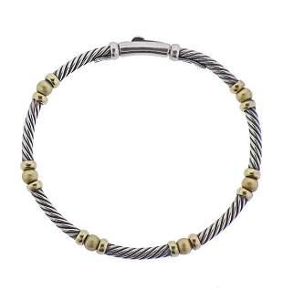 David Yurman Silver 14K Gold Cable Bracelet