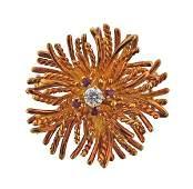 18k Gold Diamond Ruby Anemone Pendant Brooch