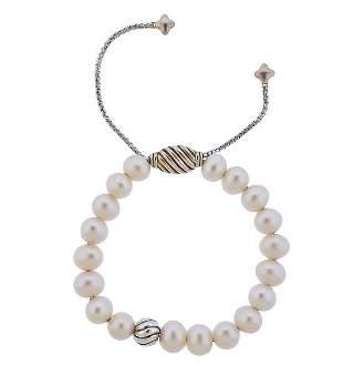 David Yurman Silver Pearl Bracelet