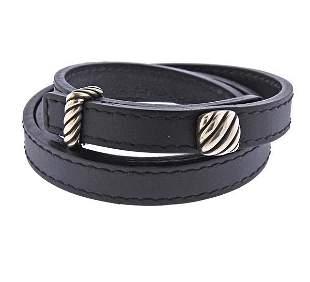David Yurman Silver Leather Wrap Bracelet