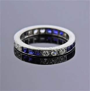 Art Deco Platinum French Cut Sapphire Diamond Band Ring