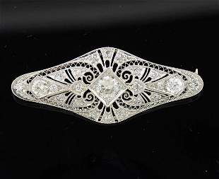 Art Deco Platinum Diamond Brooch Pin