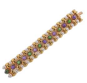 Vasari 18K Gold Pearl Tourmaline Amethyst Bracelet