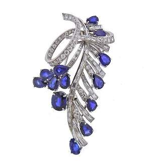 18K Gold Diamond Sapphire Brooch Pin