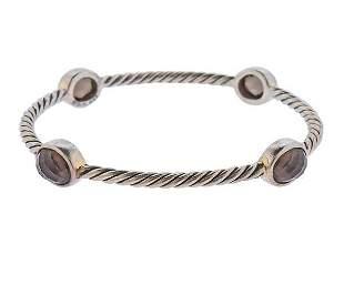 David Yurman Silver Smoky Quartz Bangle Bracelet