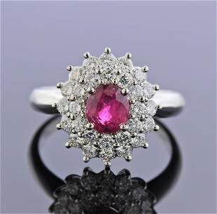 1.19ct Ruby Diamond Platinum Cluster Ring