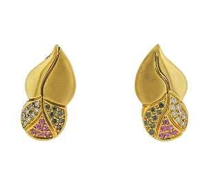 Tenthio 18K Gold Diamond Pink Blue Sapphire Earrings