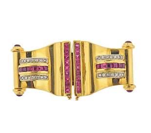 Retro 18K Gold Diamond Earrings  Brooch Pin