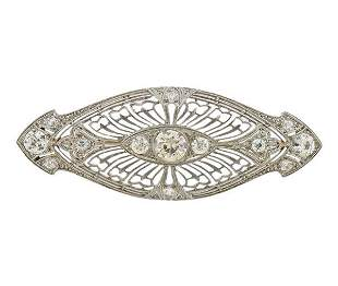 Art Deco Filigree Platinum Diamond Brooch Pin
