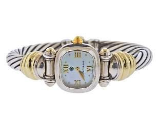 David Yurman 14k Gold Silver MOP Cable Bracelet Watch
