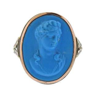 Antique Victorian 14K  Gold Turquoise Cameo Ring