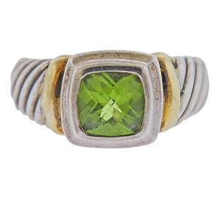 David Yurman Albion Silver 14K Gold Peridot Ring