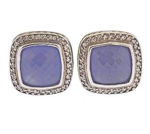 David Yurman Silver Diamond Chalcedony Earrings