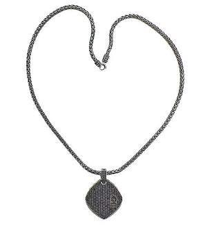 David Yurman Silver Black Diamond Pendant Necklace