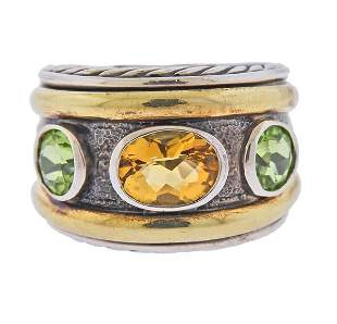 David Yurman Silver 14K Gold Citrine Peridot Ring