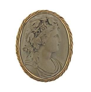 Antique Victorian 14K Gold Lava Cameo Brooch Pendant