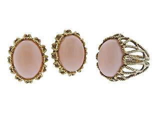 1960s 14K Gold Coral Earrings Ring Set