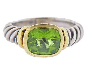 David Yurman Silver 14K Gold Peridot Cable Ring