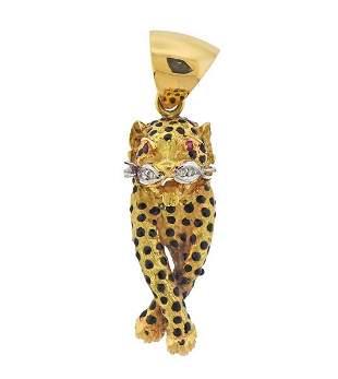 18K Gold Diamond Ruby Enamel Panther Pendant
