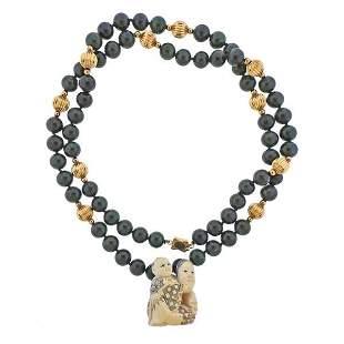 14K Gold Nephrite Bead Pendant Necklace