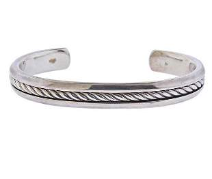 David Yurman Silver Cable Cuff Bracelet