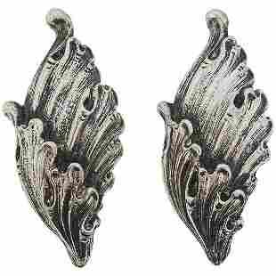 Buccellati Wing Motif Gold Silver Earrings