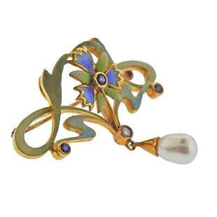 18k Gold Diamond Pearl sapphire Plique A Jour Brooch