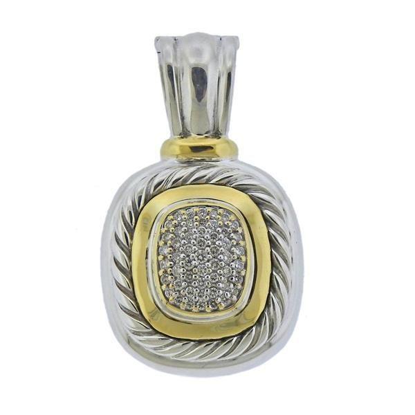 David Yurman Silver 18K Gold Diamond Pendant