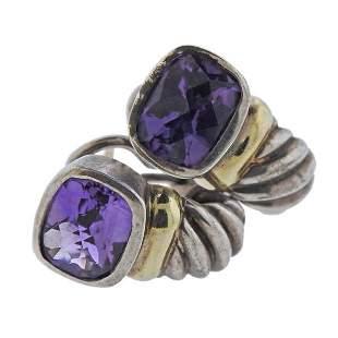 David Yurman Silver 14K Gold Amethyst Earrings