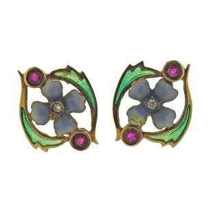 18k Gold Ruby Diamond Plique A Jour Earrings