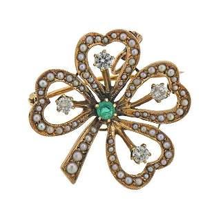 Antique 14k Gold Diamond Pearl Emerald Clover Brooch