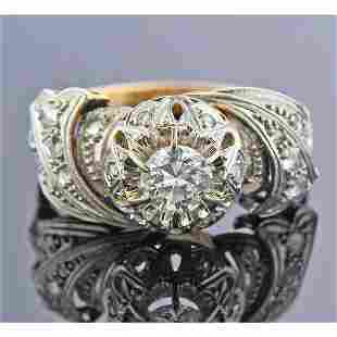 Mid Century 18K Gold Platinum Diamond Ring