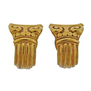 Vasari 18K Gold Half Hoop Scroll Earrings