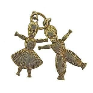 18k Gold Boy & Girl Charm Pendant