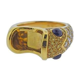 18k Gold Yellow Diamond Sapphire Fish Ring