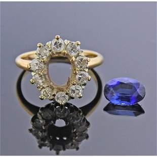 14k Gold Diamond Synthetic Sapphire Ring