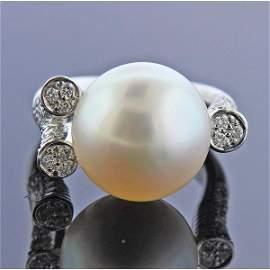 18K Gold Diamond South Sea Pearl Ring