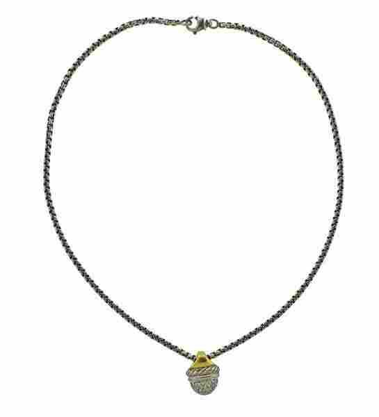 David Yurman Silver 18K Gold Diamond Pendant Necklace