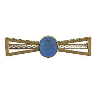 Antique Filigree 14K Gold Black Opal Brooch Pin