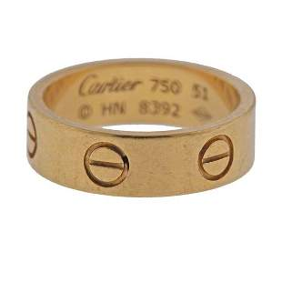 Cartier Love 18K Gold Band Ring Size 51