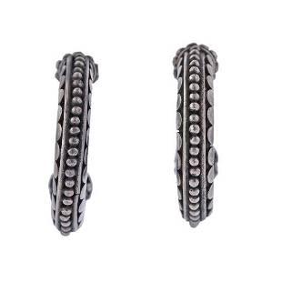 John Hardy Silver Dot Hoop Earrings