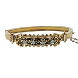Antique 14K Gold Opal Pearl Bangle Bracelet