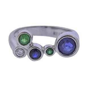 Kylo 18K Gold Diamond Sapphire Emerald Ring