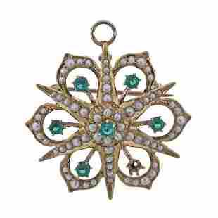 Antique 14k Gold Pearl Emerald Brooch Pendant